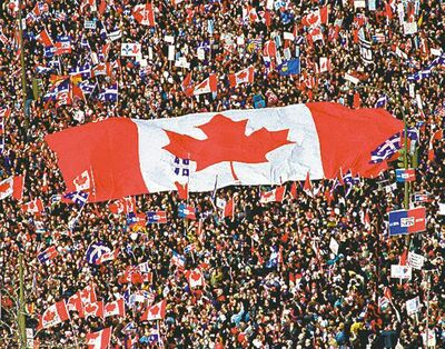 Ryan Remiorz / The Canadian Press archivesThe PQ wants to remove the flag from its National Assembly.