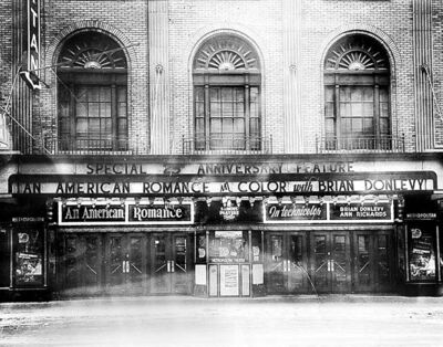 A front view and the lobby of the Metropolitan Theatre in Winnipeg. There have been relatively few changes to the building since it opened.