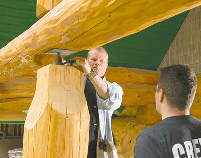 Through bolts are installed in log houses in order to tighten the seals between logs, as the logs shrink over time.