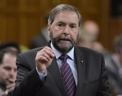 NDP Leader Tom Mulcair asks a question during Question Period in the House of Commons on Parliament Hill in Ottawa, Tuesday, May 21, 2013. THE CANADIAN PRESS/Adrian Wyld
