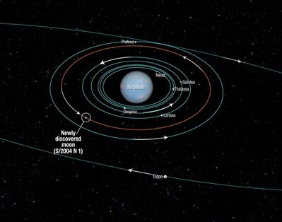 This diagram provided by NASA shows the orbits of several moons located close to the planet Neptune. NASA announced the discovery of Neptune's 14th moon Monday, July 15, 2013. The new moon, Neptune's tiniest, is designated S/2004 N 1. It's 100 million times fainter than the faintest star visible with the naked eye. (AP Photo/NASA)