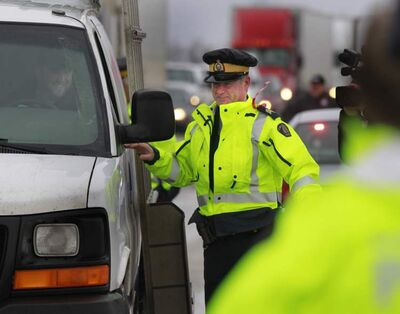 RCMP officers were out on the Trans Canada Highway at the kickoff of the Manitoba RCMP 2012 Holiday Checkstop Program.