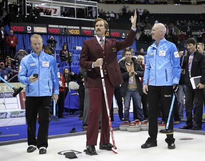 Ron Burgundy salutes his adoring fans prior to throwing the first rock durig the opening ceremonies of the Roar of the Rings at MTS Centre Sunday.