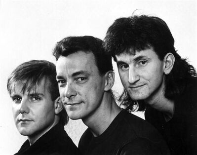 Canadian power trio Rush, from left Alex Lifeson, Neil Peart,and Geddy Lee are shown in a 1984 promotional photo for their 10th studio album, Grace Under Pressure. The Canadian Press/HO