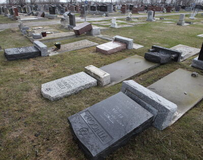 About 20 to 25 headstones were knocked over at the Hebrew Sick Benefit Cemetery on McPhillips Street earlier this month. Damage is estimated at $40,000 to $60,000.