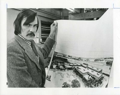 Winnipeg Tribune Fonds University of Manitoba Archives &amp; Special Collections</p><p>A photograph of Winnipeg architect Leslie Stechesen. Stechesen has left his mark on more than 100 buildings in the city. </p></p></p></p></p><p>This black-and-white photograph, taken by Gregg Burner on 28 November 1972, depicts Stechesen holding a drawing of his design for the Leaf Rapids Town Centre.</p><p>28 November 1972</p>