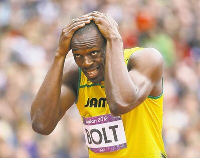 Bolt at the 200 start line.