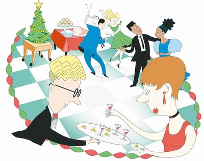 300 dpi Amy Raudenbush color illustration of office workers at a Christmas party. The Philadelphia Daily News 1994<p>krtcampus campus; krtnational national; krtworld world; krt; mctillustration; 10011000; 12014001; FEA; krtchristianity christianity; krtchristmas christmas; krtfeatures features; krtholiday holiday; krtlifestyle lifestyle; krtreligion religion; krtwinter winter; krtxmas xmas; LEI; LIF; public holiday; REL; religious festival; religious holiday; 1994; krt1994; krtbusiness business; office party