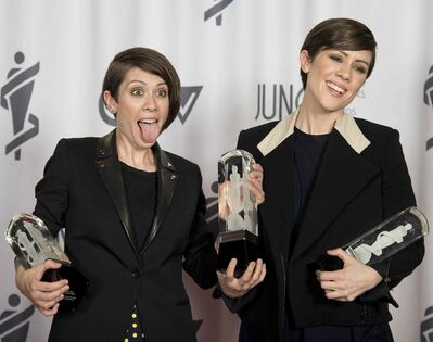Tegan and Sara celebrate winning three Juno Awards for Pop Album of the Year, Group of the Year and Single of the Year.
