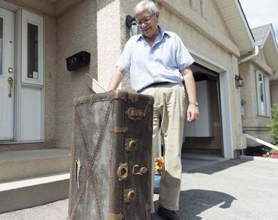 Robert Galston still has this footlocker which belonged to his late father-in-law P.G. Agnew, who died in 1968.