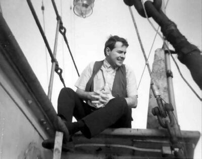 Hicks on-board Radio Caroline's Mi Amigo.