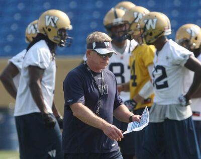 The Winnipeg Blue Bombers new head coach Tim Burke made his debut as commander of practice Tuesday.