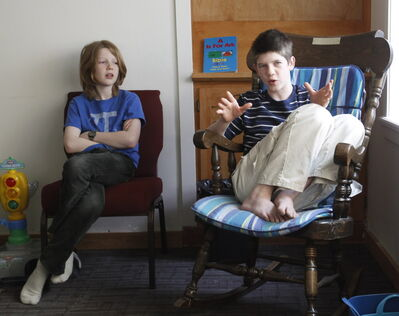 Home-schooled brothers Timothy (left) and Joshua Gehman hold forth on their home-school experience.