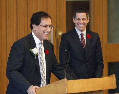 Councillor Marty Morantz (left) with Mayor Brian Bowman