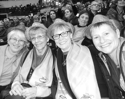 From left: Sandy Gougeon, Sherry Bulmer, Ruth Epping and Kathy Burns with their Roar fashion statements.