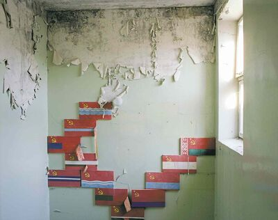 David McMillan's Flags in a Stairwell, Pripyat 1994.