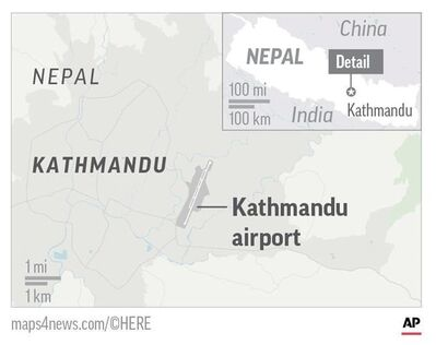 Map locates Kathmandu airport, where a plane from Bangladesh crashed and burst into flames when it landed; 2c x 2 1/2 inches; 96.3 mm x 63 mm;