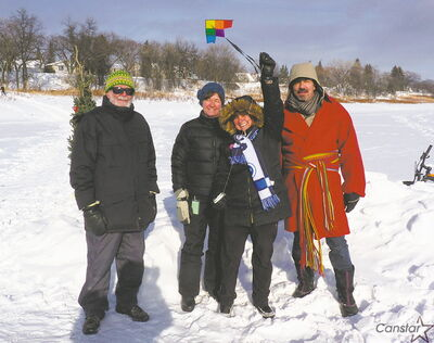 Gary Dixon, Lucille Miller, Deenie Lefko-Halas and Joe Halas flew kites on the Red River at the first Norwood-Riverview River Party on Feb. 3.