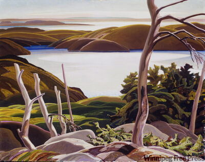 Frood Lake, an oil painting by Franklin Carmichael. He first visited Killarney in 1926.