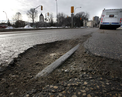 Osborne Street near the legislature offers a glimpse of an old streetcar track last used more than 50 years ago.