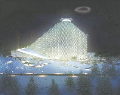 An artist's rendition of the Amagerforbraending plant in Copenhagen, complete with smoke ring.