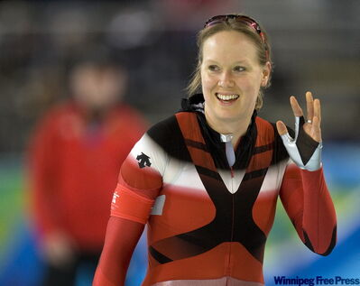 The overwhelmingly Canadian crowd let out a deafening roar for each of Cindy Klassen's 12 laps.