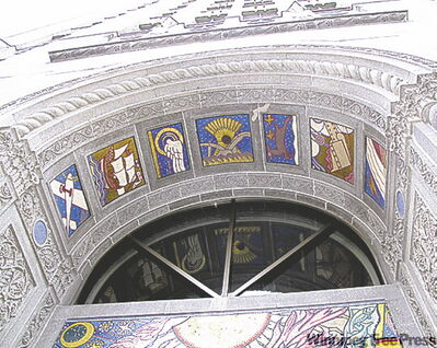 These decorations around the door of the 1928 Concourse Building at 100 Adelaide Street were painted by J.E.H. MacDonald, a member of the Group of Seven.