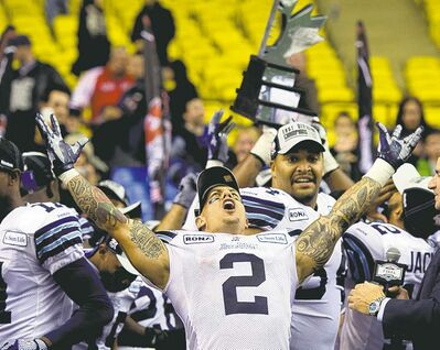 ryan remiorz / the canadian pressArgonaut Chad Owens celebrates after Toronto downed the Montreal Alouettes 27-20 in Sunday�s CFL Eastern final.