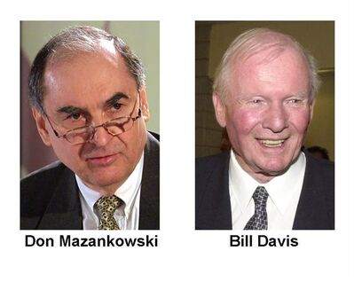 Former Progressive Conservative cabinet minister Don Mazankowski, and former Ontario premier Bill Davis are shown in these file photos. A trio of Conservative elder statesmen is speaking out against a controversial proposal to change the federal party's constitution that threatens to overshadow this week's national convention.They're arguing the future strength of the party depends on leaving a key element of its constitution intact. THE CANADIAN PRESS/files