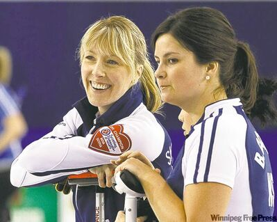 Nova Scotia skip Heather Smith-Dacey (left) and second Blisse Comstock will face relative rookie Rachel Homan's Ontario squad today in the 3-4 Page playoff match.