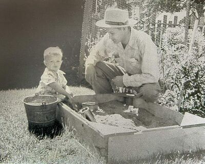 Mac Horsburgh at age 3 with his father.