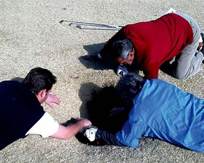Hank Martinez, top, Ed Magaletta, right, and Russ Nobbe, look into a sinkhole that golfer Mark Mihal fell into while playing at the Annbriar Golf Club.