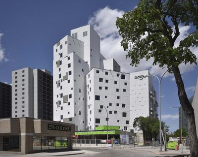 SUPPLIED</p><p>This building at 290 Colony St. is an innovative project developed by the University of Winnipeg Community Renewal Corp. It mixes affordable housing with market-rent suites. </p>