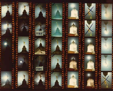 A contact sheet with photographs of the Golden Boy statue atop the Manitoba Legislature.