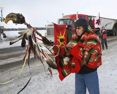 Terry Nelson at a blockade of the CN rail crossing on the Yellowhead Highway west of Portage la Prairie in January 2013.