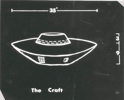 An artist's rendering of an object seen in 1967 near Falcon Lake, by a man who alleges he was burned by it when he approached. Canadians saw a record number of unidentified flying objects last year.