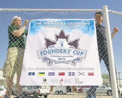 Manitoba Gryphons players prep for the Founders' Cup, a national lacrosse tournament the club is hosting this week.