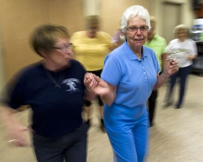 Jane Northey, 76, dances at Mapleridge Recreation Centre in Peterborough, Ontario on Monday May 7, 2012. THE CANADIAN PRESS/Frank Gunn
