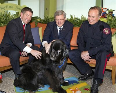 Prime Minister Stephen Harper, centre, Sheldon Kennedy, left, and constable Dan Allen, Calgary's Children at Risk Response Team, pose for a photo with a Newfoundlander therapy dog called Cagney in Calgary, Alta. on Thursday, April 11, 2013. This was part of an event renaming the Calgary Child Advocacy Centre to the Sheldon Kennedy Child Advocacy Centre. THE CANADIAN PRESS/Larry Mac Dougal