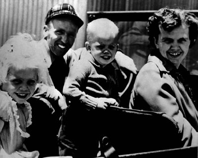 The Associated Press files</p><p>In this 1956 photo, American missionary Nate Saint, wearing a hat, poses with his daughter, Kathy (left), son Steve, and wife, Marjorie, just days before Nate was killed. In her novel, Thomas creates a fictional son for Saint, David, who narrates the contemporary sections of her book.</p>