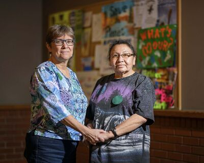 Mike Sudoma / Winnipeg Free Press</p><p>Lynda Trono (left), with Corinna Mintuck, says Prayers for the Earth is a non-partisan event.</p>