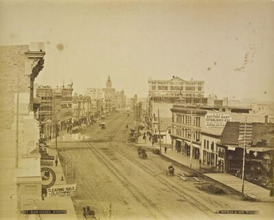William Notman's albumen print of Main Street is circa 1888.</p><p>Acquired with funds from the Photography Endowment of The Winnipeg Art Gallery Foundation Inc. (Collection of the Winnipeg Art Gallery)</p>