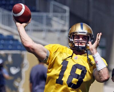 Blue Bomber QB Justin Goltz  during practice Tuesday.