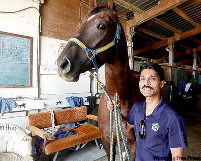 Rohan Singh holds You Darn Right, the mount he rode to his 1,000th win.