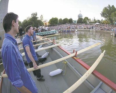 Members of the Riel Gentlemen's Choir perform on a York boat for thousands during Barge Festival.