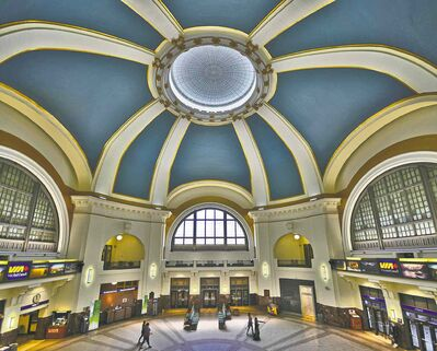 Submitted illustrationUnion Station�s central hall could again bustle with activity if the historic facility were to become a multi-modal transportation hub.