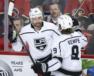 Los Angeles Kings' Ilya Kovalchuk, left, celebrates his goal with teammate Adrian Kempe during second period NHL hockey action against the Calgary Flames in Calgary, Tuesday, Oct. 8, 2019. The Montreal Canadiens agreed to terms on a one-year contract with free-agent forward Kovalchuk on Friday.THE CANADIAN PRESS/Jeff McIntosh