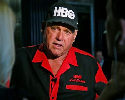 FILE - In this June 13, 2016, file photo, Dennis Hof, owner of the Moonlite BunnyRanch, a legal brothel near Carson City, Nevada, is pictured during an interview in Oklahoma City. Hof, who died last month after fashioning himself as a Donald Trump-style Republican candidate has won a heavily GOP state legislative district. Hof defeated Democratic educator Lesia Romanov on Tuesday, Nov. 8, 2018 in the race for Nevada's 36th Assembly District. (AP Photo/Sue Ogrocki, File)