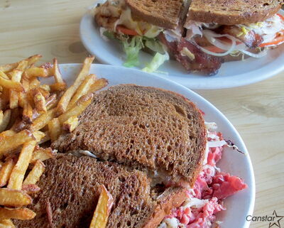 The home-made fare at Luda's, such as the clubhouse and Reuben pictured here, is worth arriving early for.