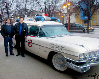 James Thevenot (left) with Dan Aykroyd and Ecto-1. Thevenot is hoping his series One Guy One Car will eventually be picked up by a major broadcaster. (Inset) One Car One Guy logo.